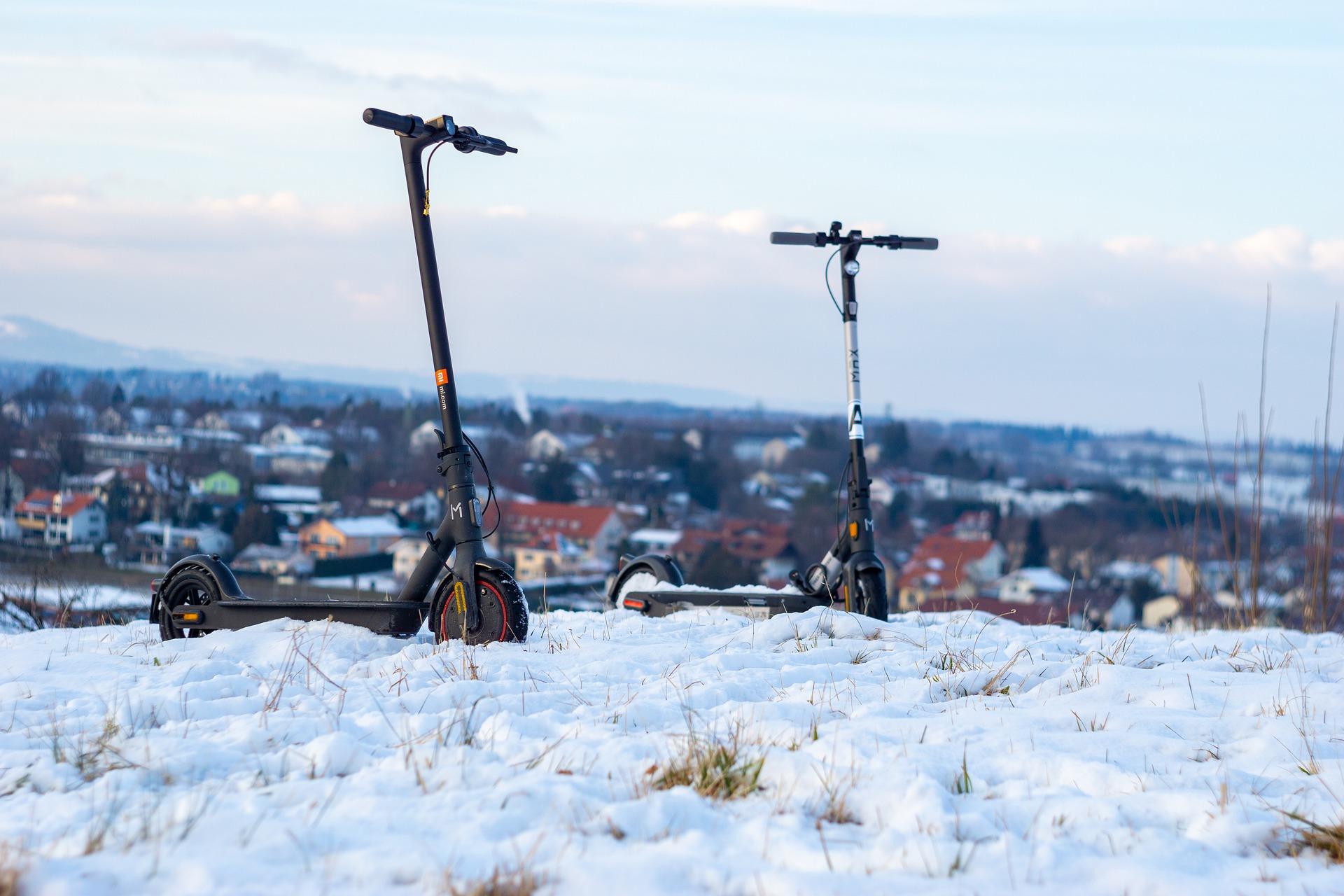 E-Scooter Winter Schnee